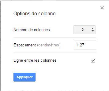 Google Doc Autres Options