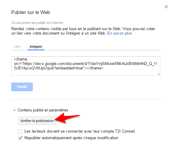 Google apps arret partage document